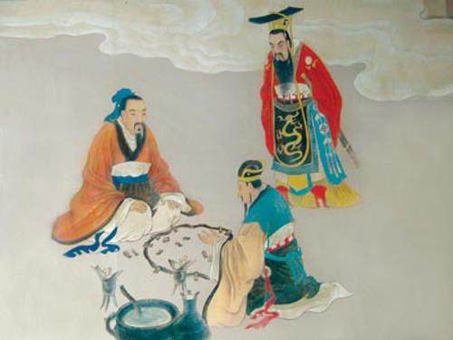 Mo Tzu Presenting His Advanced Defense Technologies to the King of Chu