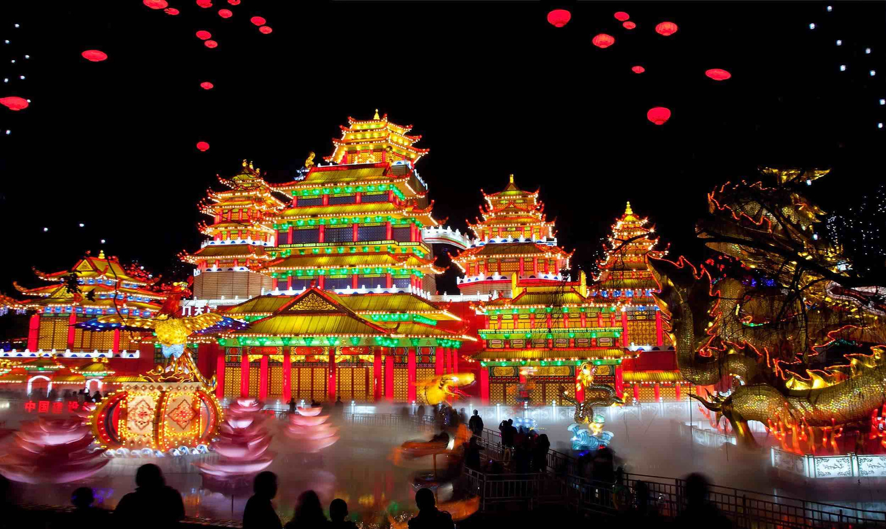 Ancient Buildings Decorated with Beautiful Lanterns