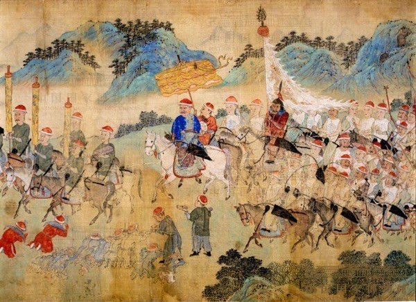 """Part of the """"Dong Weiguo Ji Gong Tu"""" that Described Qing's General Dong Defeating Wu Sangui's Rebellion, Painted by Artist Huang Bi in 1677"""