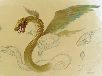 Mythical animal Teng She the flying snake