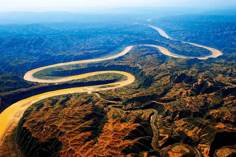 Yellow River in Jinshan Canyon (Boundary of Shanxi, Shaanxi, and Inner Mongolia Provinces)