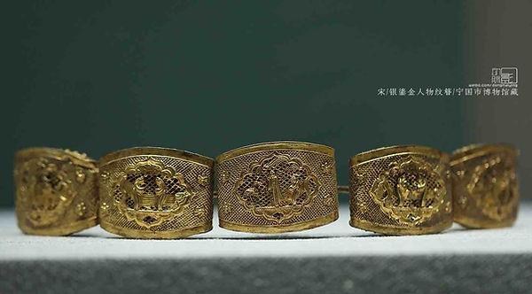 Silver Gilt Hairpin of the Song Dynasty (960 — 1279) Decorated with Figurines of Happily Married Couples