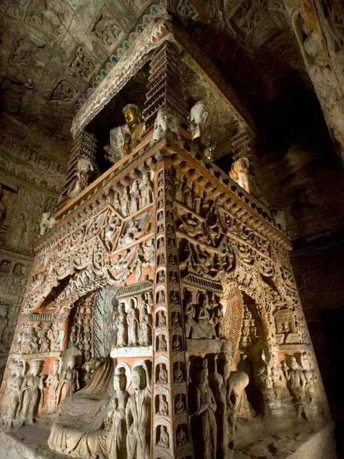 Exquisite Tower Column of the 6th Cave Built During this Period, Photo from Official Site of Yungang Grottoes.