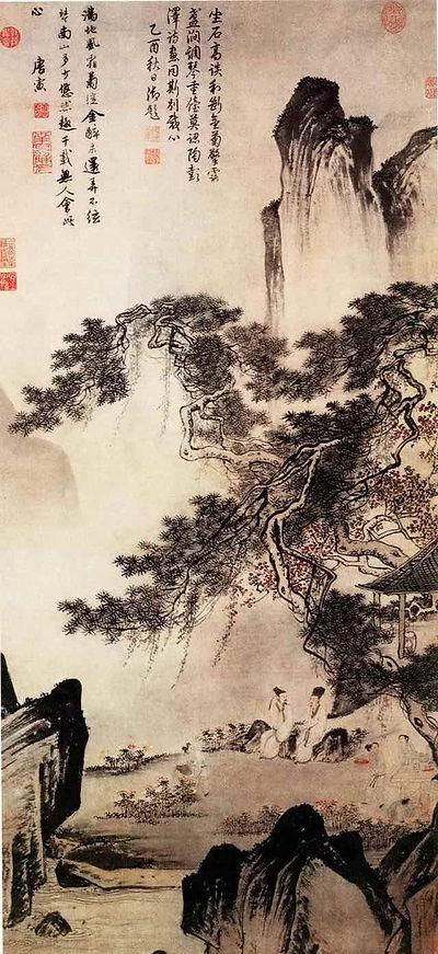 "Tang Yin Painting ""Dong Li Shang Ju Tu"" that Describes Appreciating of Chrysanthemums"