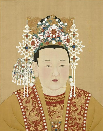 Yongle Emperor's Beloved Wife Empress Xu (1362 — 1407), Painted by Court Artist of the Ming Dynasty