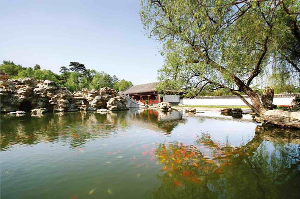 Artful Building, Bridge, and Rockery Scattering in Beautiful Nature, Photo from Official Site of Chengde Mountain Resort.