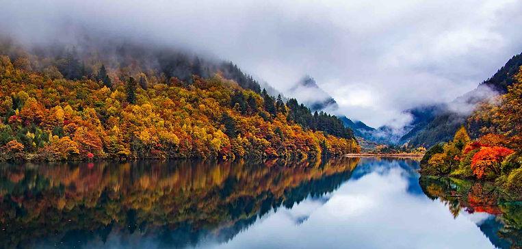 Colorful Forests of Xiniuhai or Rhinoceros Lake in Jiuzhaigou