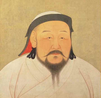 Portrait of Kublai Khan the Emperor Shizu of Yuan, By Artist Liu Guandao of the Yuan Dynasty