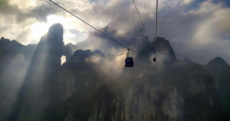 Tianmen Mountain Cableway in Zhangjiajie.