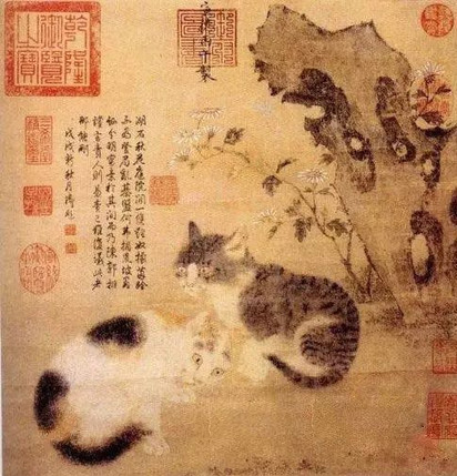 Leopard Cats and Flowers (Hua Xia Li Nu Tu) — Taipei Palace Museum