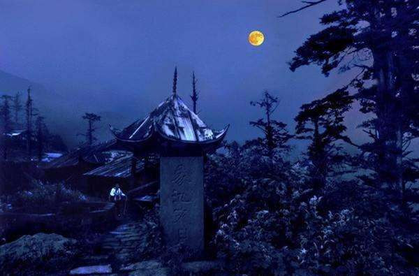 Xixiang Chi Temple at Moonlight.