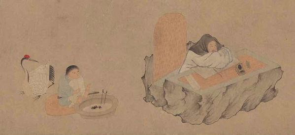 Part of Painting (Xi Hu Yin Qu Tu), by Artist Qian Xuan of the Yuan Dynasty
