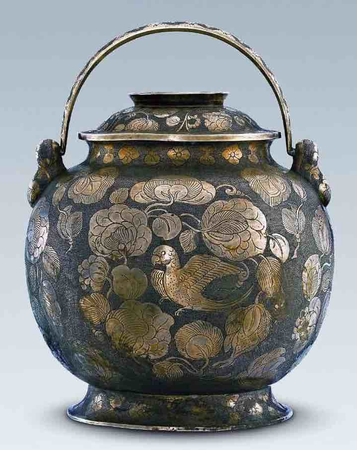 Gilding Silver Pot Decorated With Golden Parrot Pattern — Shaanxi History Museum