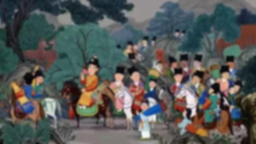 Emperor Zhu Houzhao of Ming Dynasty and his followers marching on north borders