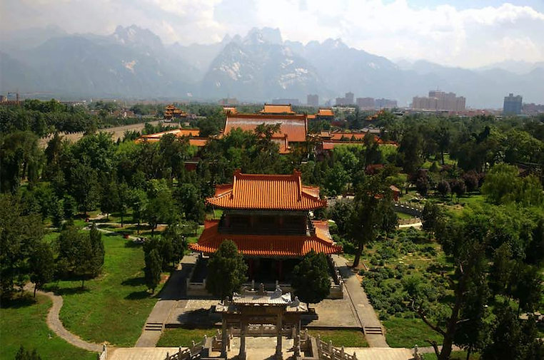 Panoramic of Xiyue Temple at the Foot of Mount Hua