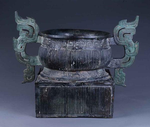 """Ritual Bronze Food Container """"Hu Gui"""" Made by King Li of Zhou"""