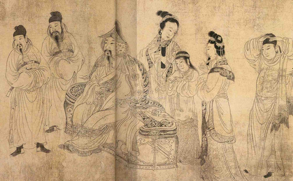 "Toghon Temür the Emperor Shun of Yuan in Painting ""Fo Lang Guo Xian Ma Tu"",  By Artist Zhou Lang of the Yuan Dynasty"