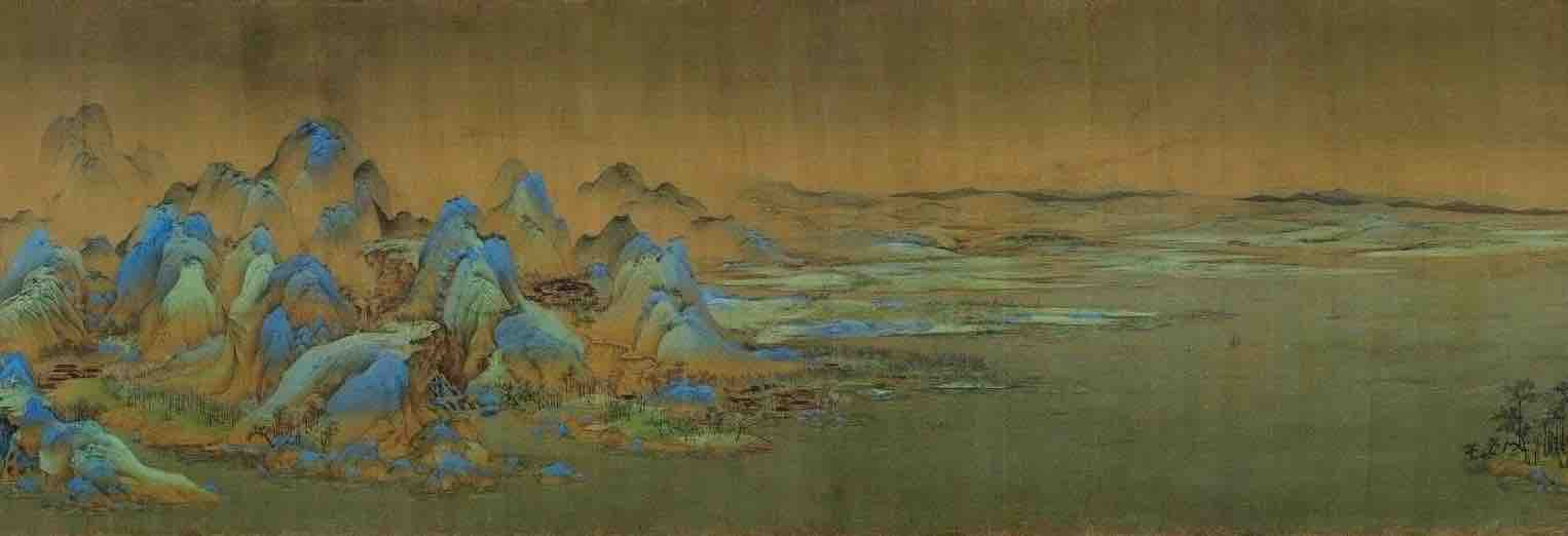 Painting Thousands Miles of Mountains and Rivers (Qian Li Jiang Shan Tu), by Artist Wang Ximeng of the Song Dynasty, Part 7