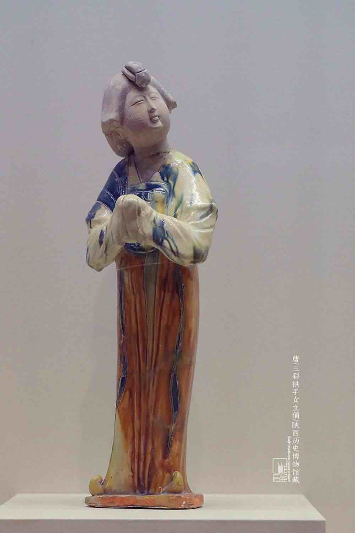 Tri-coloured Glazed Pottery (Tang Sancai) Figurine of Standing Female of the Tang Dynasty — Shaanxi History Museum