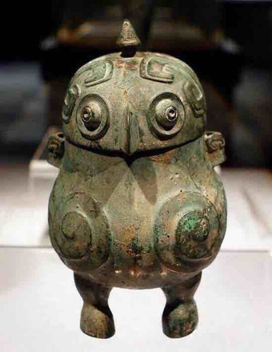 Unearthed Owl Shaped Bronze Wine Vessel (Xiao You) of the Shang Dynasty