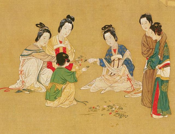 Women Playing Herb Competing Games (Dou Bai Cao) in Dragon Boat Festival