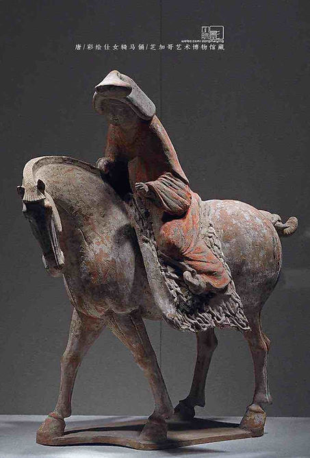 Unearthed Painted Figurine of Women Riding Horse, Which was Quite Popular Under Empress Wu Zetian's Reign