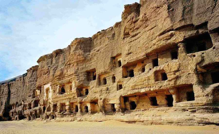 Mogao Caves in Cliff of Dunhuang, Photo from Official Site of Mogao Grottoes.