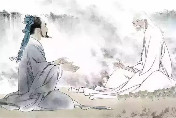 Confucius visiting and consulting Lao Zi or Lao Tzu
