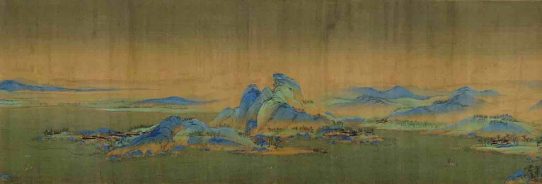 Painting Thousands Miles of Mountains and Rivers (Qian Li Jiang Shan Tu), by Artist Wang Ximeng of the Song Dynasty, Part 2