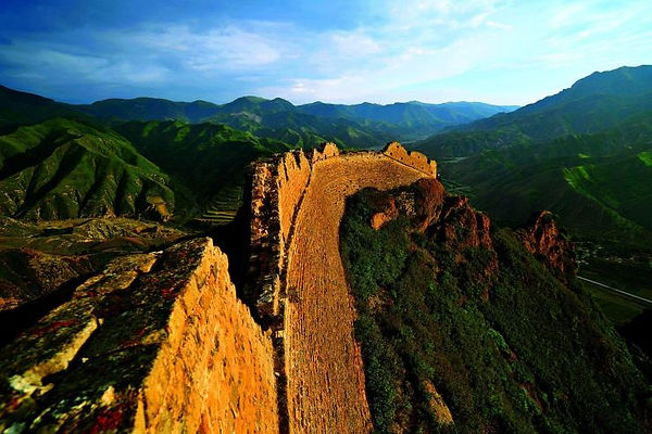 Ruins of Ancient Great Wall on Mount Heng