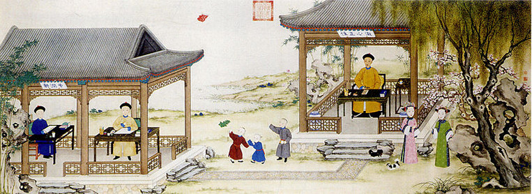 """Daoguang Emperor and His Kids in the Painting """"Daoguang Xing Le Tu"""", By Court Artist of the Qing Dynasty"""