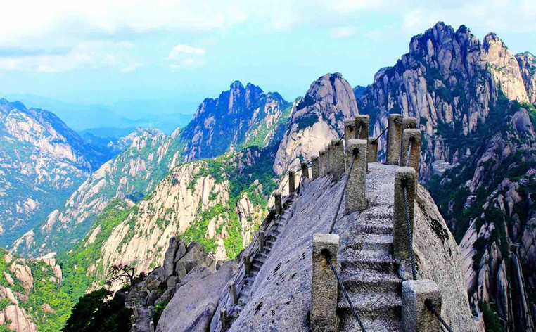 Stone Steps on Summit of Huangshan Mountain