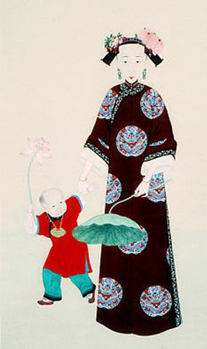 """Daoguang Emperor's Beloved Queen in the Painting """"Xuan Gong Chun Ai Tu"""", Drawn By Court Artist of the Qing Dynasty"""