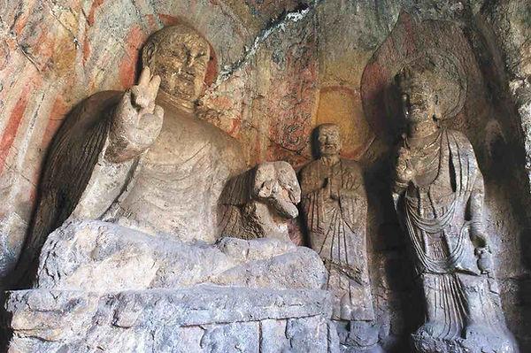 Buddha Statues in Northern Binyang Cave of Longmen Grottoes.