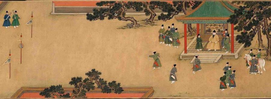 """Painting """"Zhu Zhanji Xing Le Tu"""" Presenting Emperor Zhu Zhanji's Entertainment Activities in the Royal Palace Part 6"""