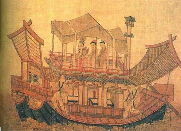 Exquisite Boat on Part of The Picture of the Ode of the River Goddess, by Great Poet and Artist Gu Kaizhi (348 — 409)