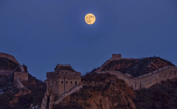 Great Wall of China Under the Moon