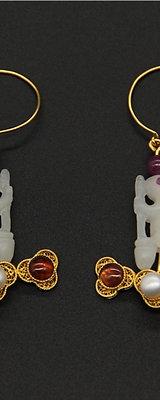 Replication Filigree Inlaying Jade Rabbit Earrings