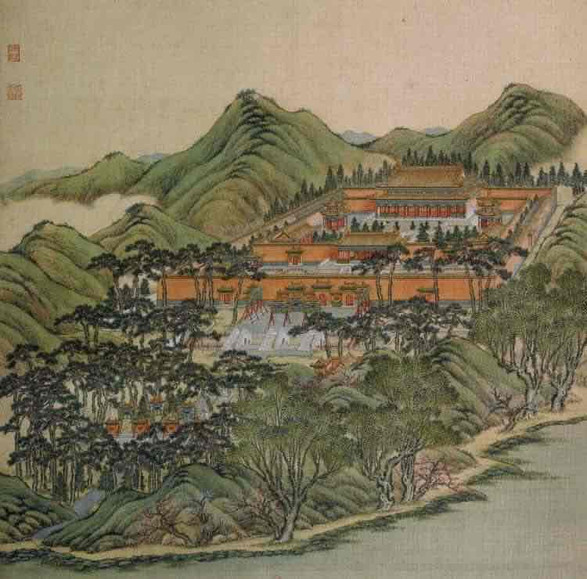 "Part of Court Painting ""Forty Scenes of the Old Summer Palace"" (Yuan Ming Yuan Si Shi Jing Tu Yong) of the Qing Dynasty 7"