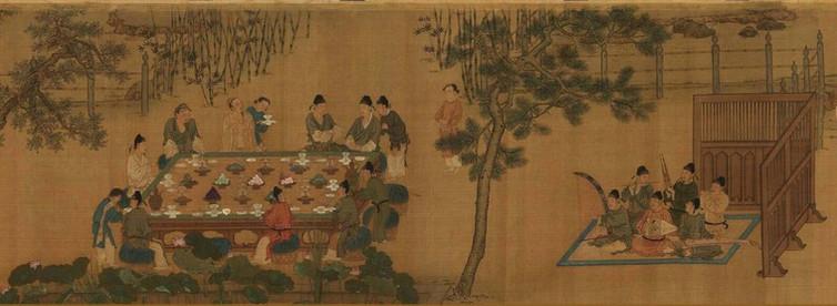 "Part of ""Shi Ba Xue Shi Tu"" the In Regard to Talented and Famous Scholars That Were Serving Tang Tai Zong, Painted by Zhao Ji the Emperor Huizong of Song (1082-1135)."