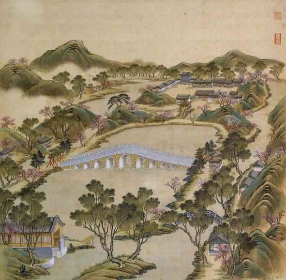 """Part of Court Painting """"Forty Scenes of the Old Summer Palace"""" (Yuan Ming Yuan Si Shi Jing Tu Yong) of the Qing Dynasty 2"""