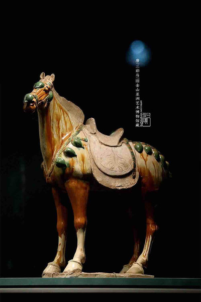 Unearthed Tri-coloured Glazed Pottery Horse (Tang San Cai) of the Tang Dynasty