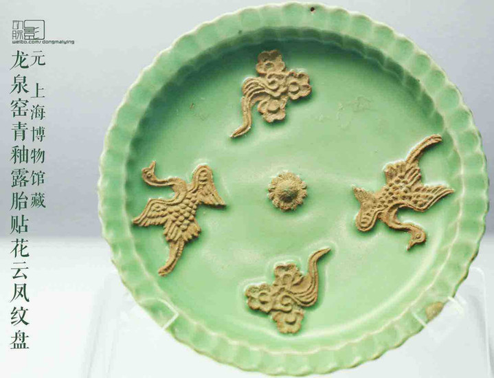 Cyan Glaze Plate Decorated With Dragon and Phoenix of the Yuan Dynasty — Shanghai Museum