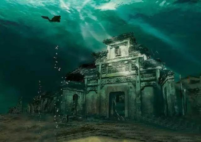 Shi Cheng the Lion City Beneath the Thousand Island Lake, Photo from Chinese National Geography.