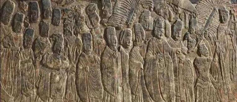 Relief Sculpture of Yuan Hong the Emperor Xiaowen of Northern Wei Visiting Buddhist Temple (Li Fo Tu)