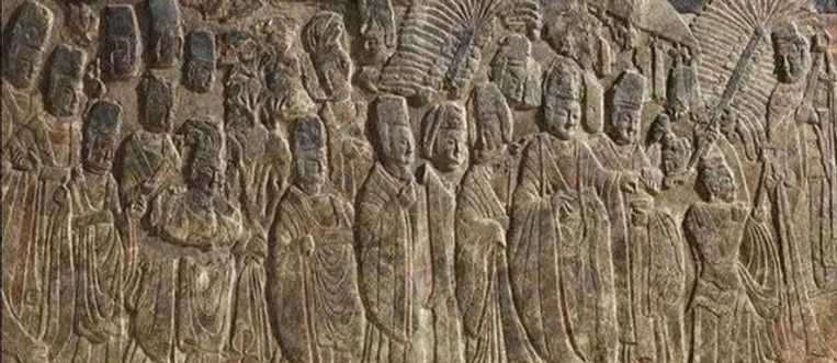 Relief Sculpture of Yuan Hong the Emperor Xiaowen of Northern Wei Visiting Buddhist Temple (Li Fo Tu)