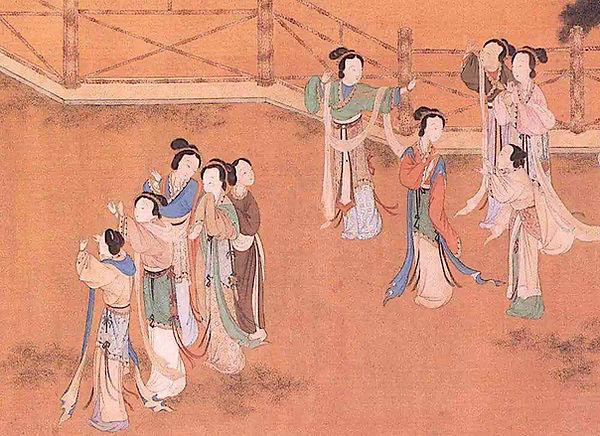 Women threading needles under the moon of Qixi Festival