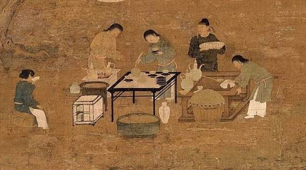 """In the Painting """"Wen Hui Tu"""" by Emperor Zhao Ji (1082 — 1135), People Are Making and Drinking Tea"""