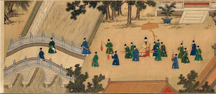 "Painting ""Zhu Zhanji Xing Le Tu"" Presenting Emperor Zhu Zhanji's Entertainment Activities in the Royal Palace Part 1"
