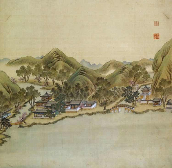 "Part of Court Painting ""Forty Scenes of the Old Summer Palace"" (Yuan Ming Yuan Si Shi Jing Tu Yong) of the Qing Dynasty 2"